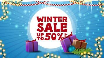 Winter sale, blue discount banner for website