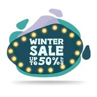 Winter sale, modern green discount banner vector