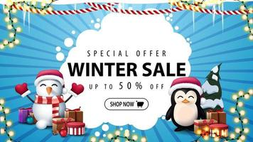 Winter sale, blue discount banner with garlands