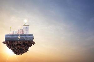 Saving energy concept on sunset background