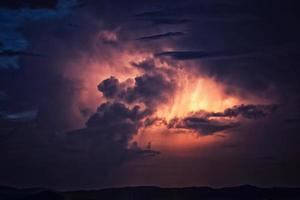Illuminated clouds at sunset