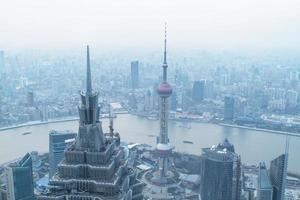 Shanghai, China, 2020 - Aerial view of the Oriental Pearl Tower