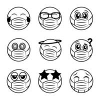 Emoticon with face mask icon set