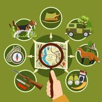 Professional Hunter and Equipment Chart vector