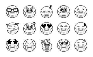 emoticon con conjunto de iconos de mascarilla vector