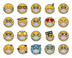 Emoticon with face mask icon set vector