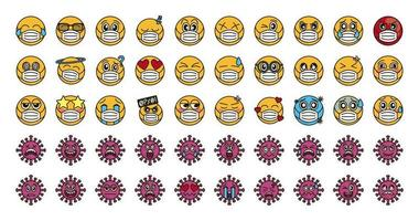 Emoticon with face mask and coronavirus icon set vector