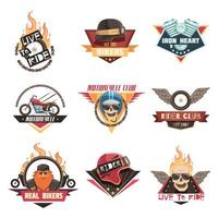 colección de emblemas de motociclista vector