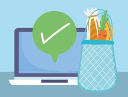 Online market composition with fresh fruits and vegetables