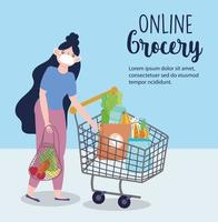 Online market banner with woman and shopping cart vector