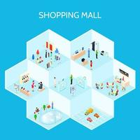 Isometric Shopping Mall Composition