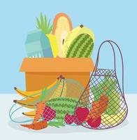 Groceries with fresh produce and dairy products vector