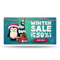 Winter sale, green discount banner with penguin