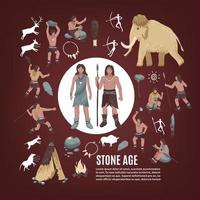 Stone Age People Icon Set