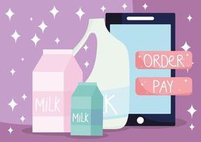 Banner de mercado en línea con productos lácteos frescos. vector