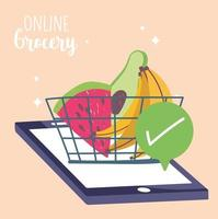 Online market composition with fresh fruits and vegetables vector