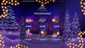 Christmas website template with goods vector