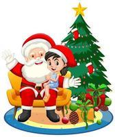 Papá Noel sentado en su regazo con linda chica sobre fondo blanco.