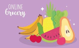 Banner de mercado en línea con frutas y verduras frescas. vector