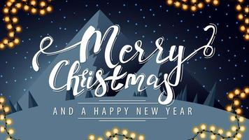 Merry Christmas, greeting postcard with white lettering vector