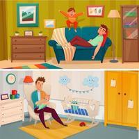 Fatherhood Cartoon Banner Set vector