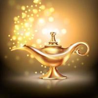 Realistic gold Arabian genie lamp vector