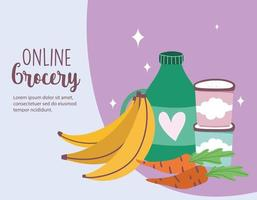 Online market banner with fresh fruits and vegetables vector