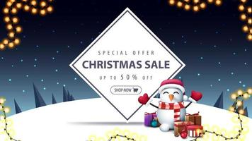 Christmas sale, discount banner with snowman vector