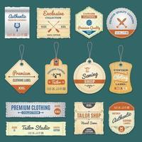 Vintage clothing label set vector