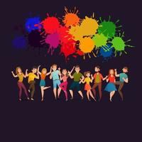 Festive Colorful Poster with People Dancing