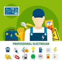 Professional Electrician Icon Set vector
