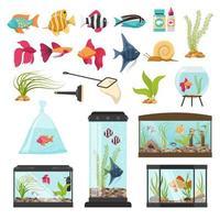 colección de elementos esenciales de acuario vector
