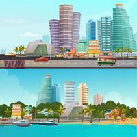 conjunto de banners de dibujos animados frente al mar de miami