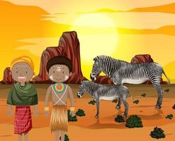 Ethnic people of African tribes in traditional clothing in nature background