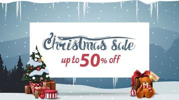 Christmas sale, discount banner with white paper sheet vector