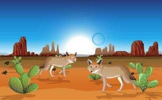 desierto con montañas rocosas y paisaje de coyotes en la escena del día vector