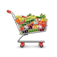 Realistic Shopping Cart with Vegetables vector