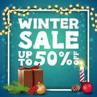 Winter sale, discount banner with white frame vector