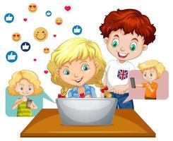 Children with social media elements on white background vector