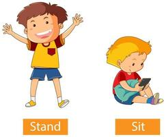 palabras verbales opuestas con stand and sit