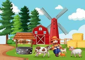 granjero con granja de animales en la escena de la granja en estilo de dibujos animados
