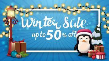Winter sale, blue discount banner with white frame