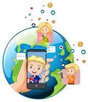 niños con elementos de redes sociales en el globo terráqueo