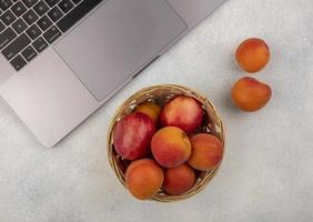 Small basket of peaches next to laptop computer on neutral surface