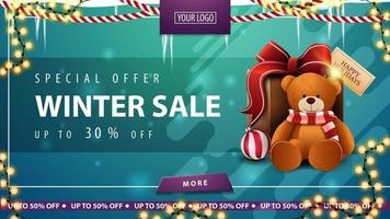 Winter sale, green discount banner with icicles