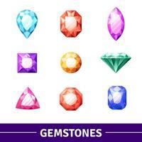 Colorful Gemstones Icon Set vector