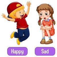 palabras adjetivas opuestas con feliz y triste vector