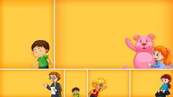 Set of different kid characters on yellow color background