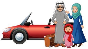 familia árabe de vacaciones vector