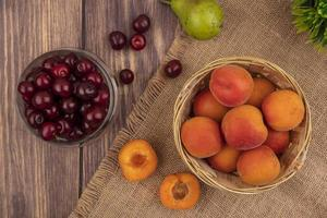 Assorted fruit on stylized mid-autumn background